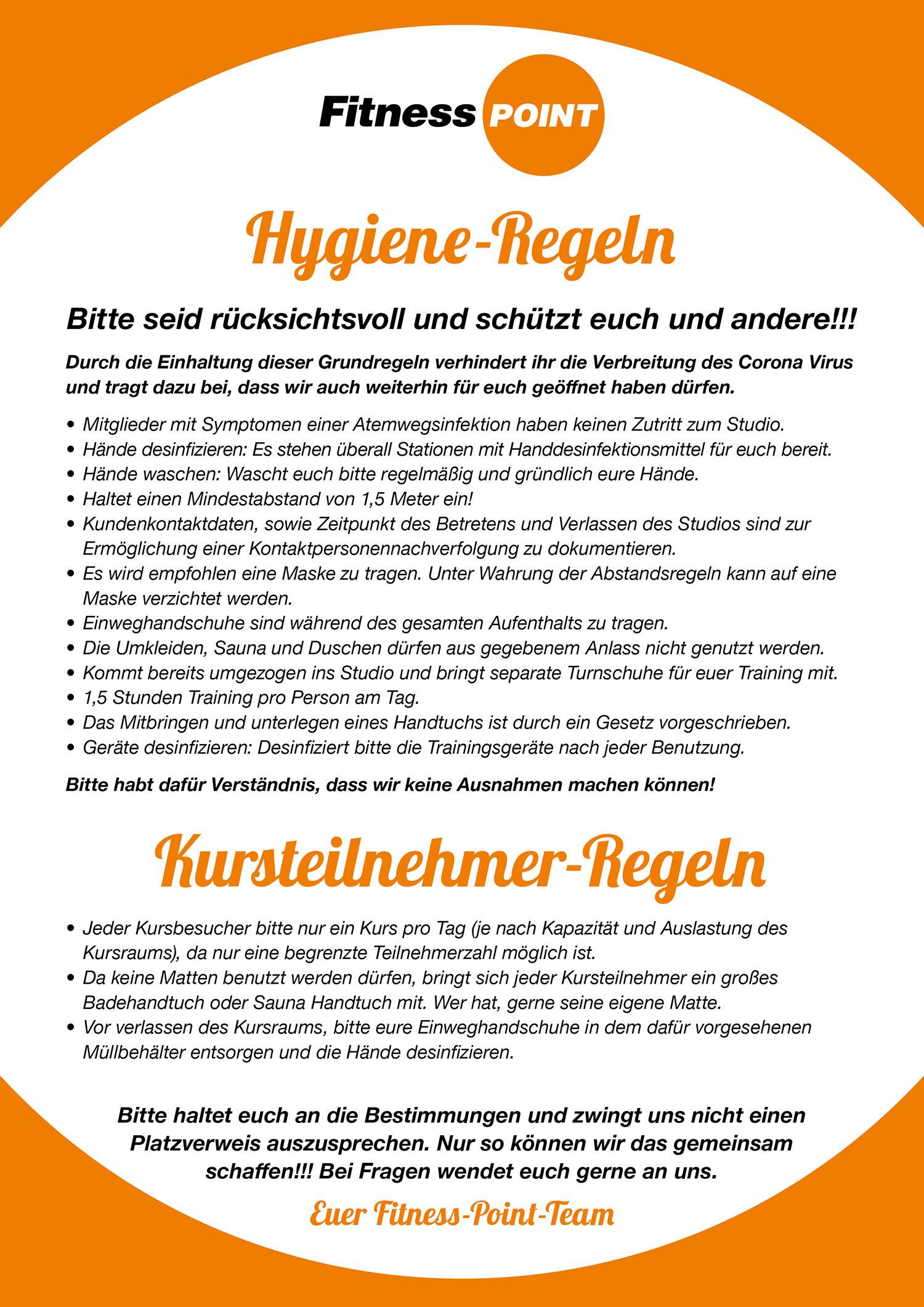Hygiene Regeln Fitness Point Horrem